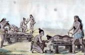 Gravure de Indiens d'Amérique - Médecine - Traitement des Maladies (États-Unis d'Amérique)
