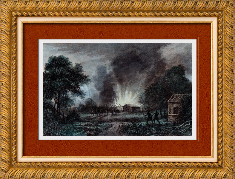 Antique Prints & Drawings | Disaster of Wioming - Conflagration - Burning - Aboriginal peoples (United States of America) | Intaglio print | 1837