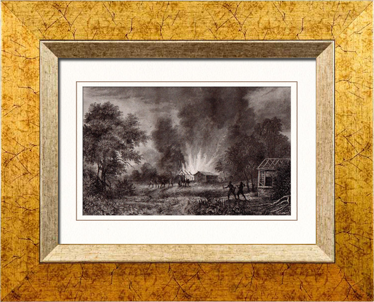 Antique Prints & Drawings   Disaster of Vioming - Conflagration - Burning - Aboriginal peoples (United States of America)   Intaglio print   1837