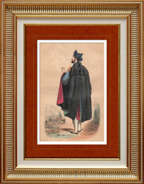 Gravures Anciennes & Dessins   Costume Traditionnel Espagnol - Torero - Corrida (Espagne)   Gravure sur bois   1848