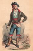 Grabado antiguo - Traje Típico Español - Contrabandista (España)