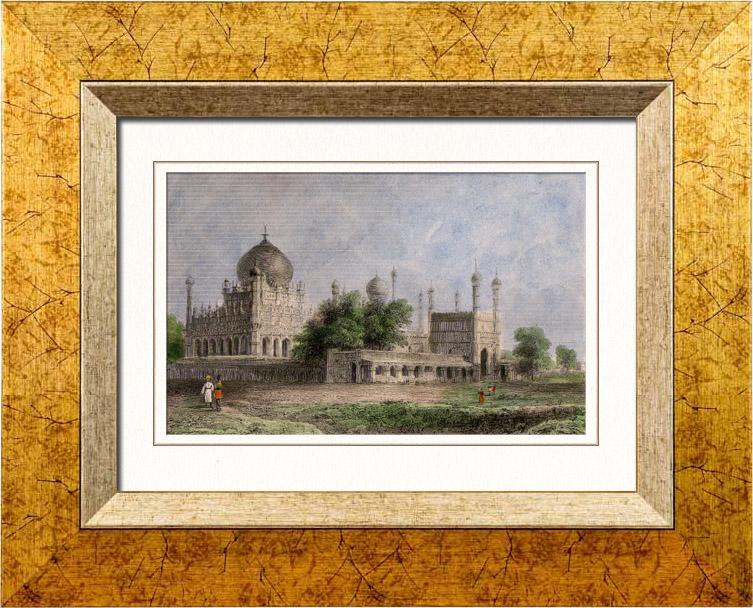 Gravures Anciennes & Dessins | Tombeau de Ibrahim Padshah - Bijapur (Inde) | Taille-douce | 1845