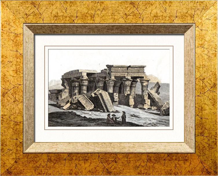 Gravures Anciennes & Dessins   Egypte Antique - Temple de Kôm Ombo - Haute-Égypte (Egypte)   Taille-douce   1848