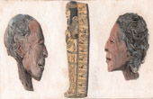 Ancient Egypt - Coffin and Heads of mummy (Egypt)