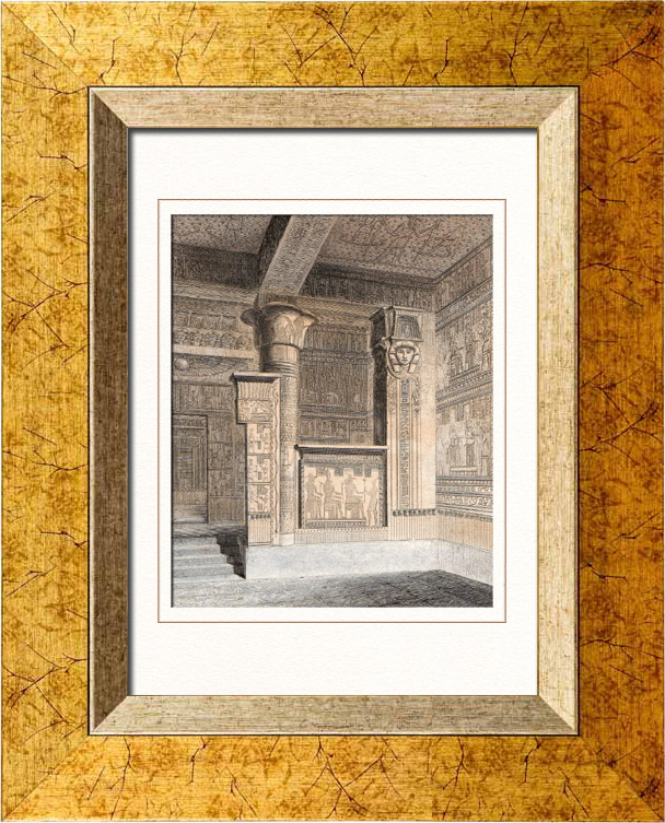 Gravures Anciennes & Dessins   Vue de Thèbes - Memnonium - Temple de l'Ouest (Egypte)   Taille-douce   1848