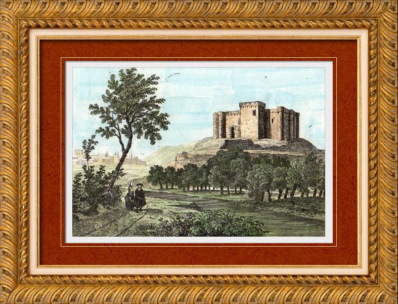 Gravures Anciennes & Dessins | Vue - Château de Mauvezin - Moyen Age (France - Hautes-Pyrénées) | Taille-douce | 1835