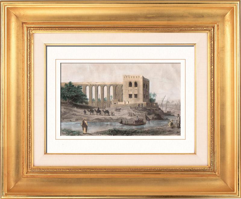 Gravures Anciennes & Dessins   Vue du Caire - Citadelle de Saladin - Moyen Age (Egypte)    Taille-douce   1848