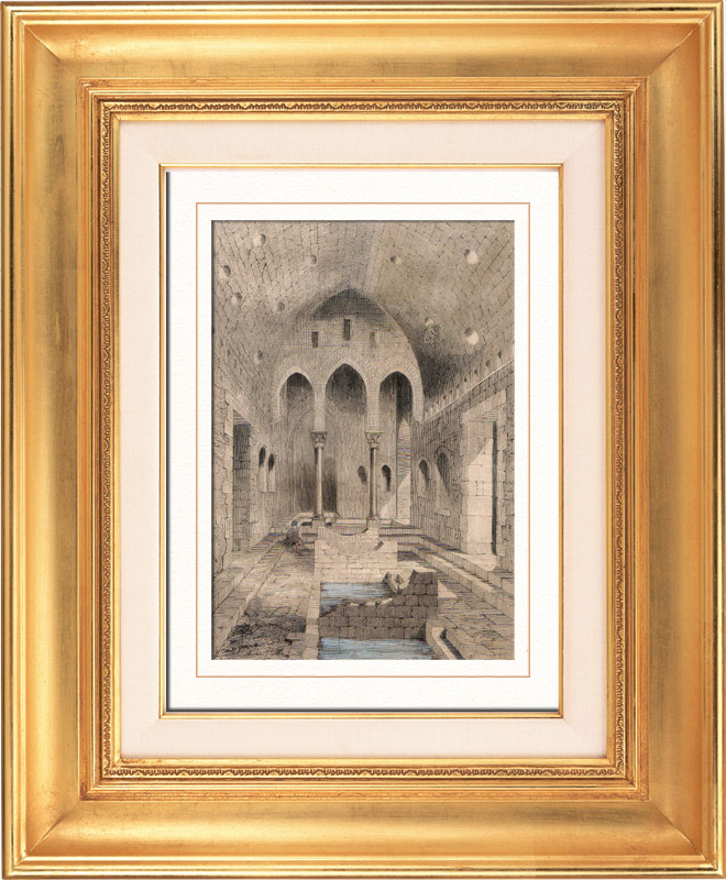 Gravures Anciennes & Dessins   Vue des Anciens Thermes Romains de Cefalú - Palerme (Sicile)   Taille-douce   1848