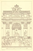 Architect's Drawing - Italy - Rome - Trevi Fountain - Fontana di Trevi (Nicola Salvi)