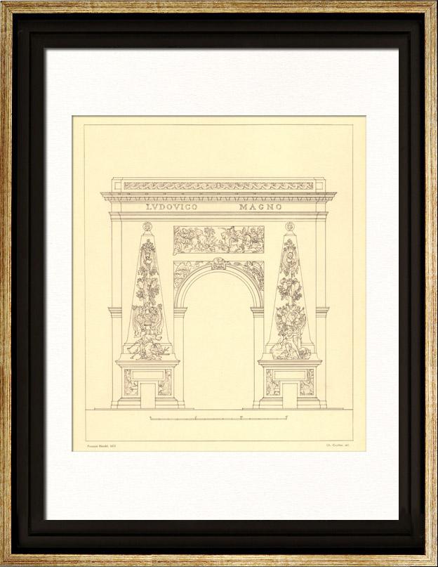 Stampe antiche stampa di disegno di architetto francia - Architetto porta ...