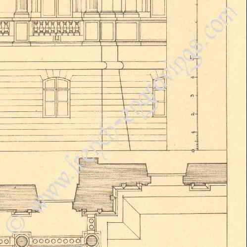 Gravures anciennes gravure de dessin d 39 architecte for Architecte maisons laffitte