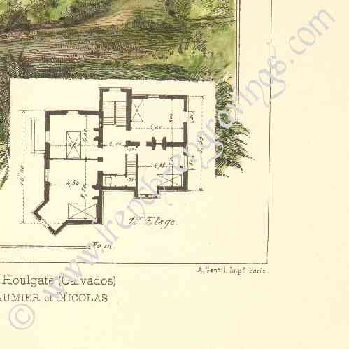 Antique prints print of drawing of architect house for Who draws house plans near me
