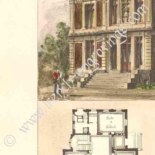 gravures anciennes dessin d 39 architecte maison de campagne saint germain en laye mr h ret. Black Bedroom Furniture Sets. Home Design Ideas