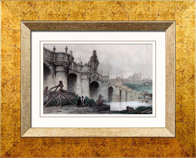 gravures anciennes vue de madrid pont de tol de. Black Bedroom Furniture Sets. Home Design Ideas