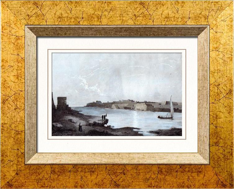 Antique Prints & Drawings   View of Mahón - Maó - Minorca - Balearic Islands (Spain)   Intaglio print   1847