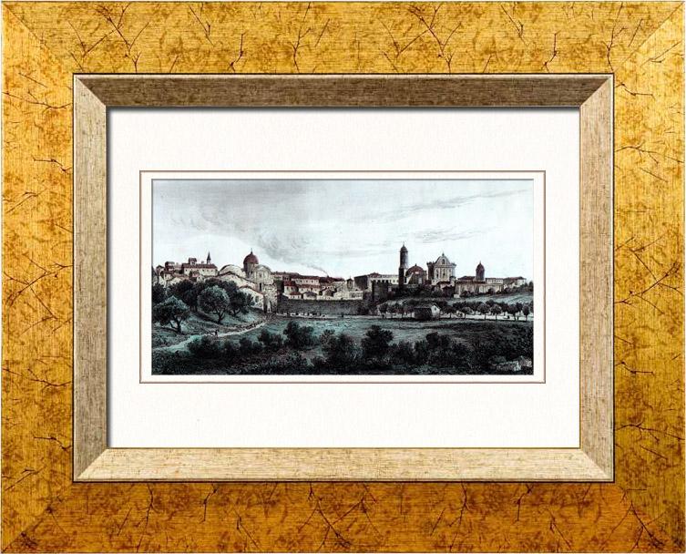 Gravures Anciennes & Dessins | Vue de Sassari - Sardaigne (Italie) | Taille-douce | 1847