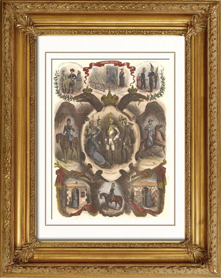 Gravures Anciennes & Dessins | Armée Russe - Cosaques (Russie) | Gravure sur bois | 1865