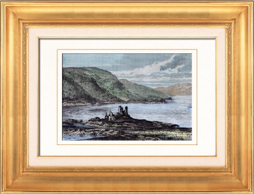 Gravures Anciennes & Dessins   Vue de Eilean Donan castle (Ecosse) - Moyen Age - îIe - Loch Duich - Loch Alsh   Gravure sur bois   1879