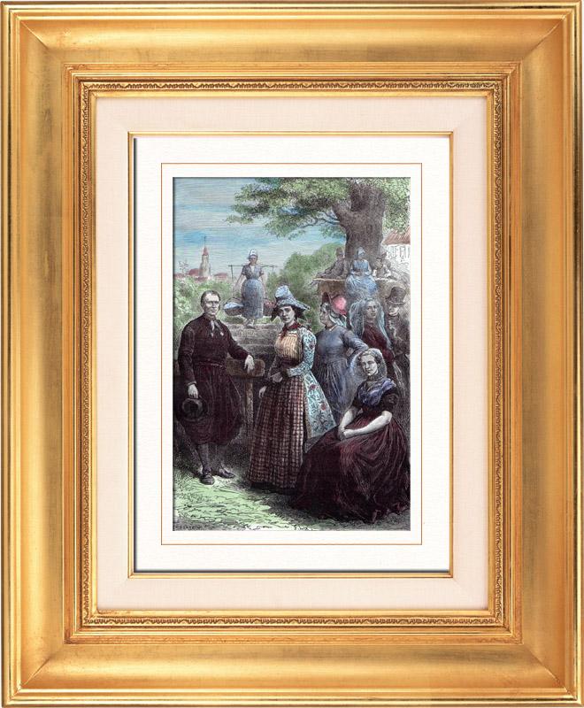 Gravures Anciennes & Dessins | Costume Hollandais - Mode Hollandaise - Frise Zélande (19ème Siècle - XIXème Siècle) | Gravure sur bois | 1879