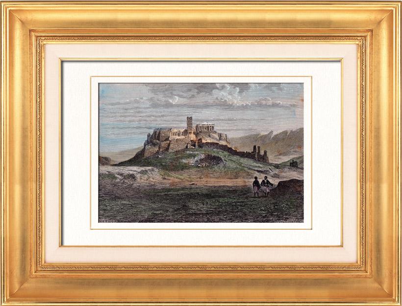 Antique Prints & Drawings | Ancient Greece - Erechtheum - Acropolis of Athens (Greece) | Wood engraving | 1875
