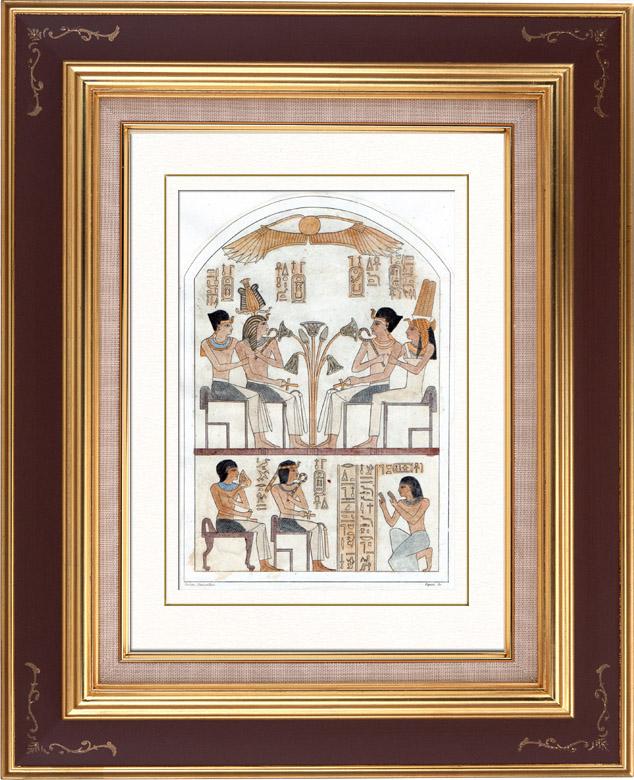 Gravures Anciennes & Dessins | Egypte Antique - Hiéroglyphes - Stèle Royale Funéraire (Champollion) | Taille-douce | 1848