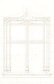 Architect's Drawing - Window of house in Chartres (France)