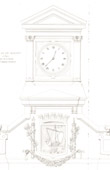 Architect's Drawing - City Hall (11th Arrondissement of Paris) - Facade - Clock - Coat of arms