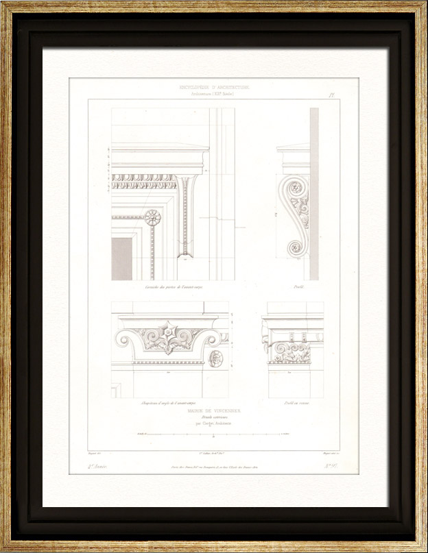Antique Prints & Drawings   Architect's Drawing - City Hall of Vincennes (Val-de-Marne - France) - Decoration - Cornice   Intaglio print   1854