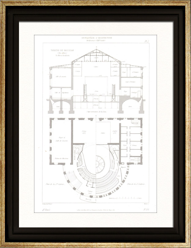 gravures anciennes dessin d 39 architecte th tre d 39 haguenau bas rhin france int rieur. Black Bedroom Furniture Sets. Home Design Ideas