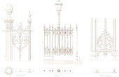 Architect's Drawing - Cirque d'hiver - Winter Circus - Cirque Napoléon (Paris) - Cast iron fence