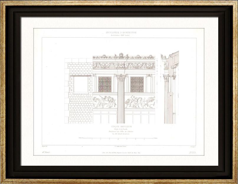 Stampe Antiche & Disegni   Disegno di Architetto - Cirque d'hiver - Circo d'inverno - Cirque Napoléon (Parigi) - Facciata - Frisia   Stampa calcografica   1854