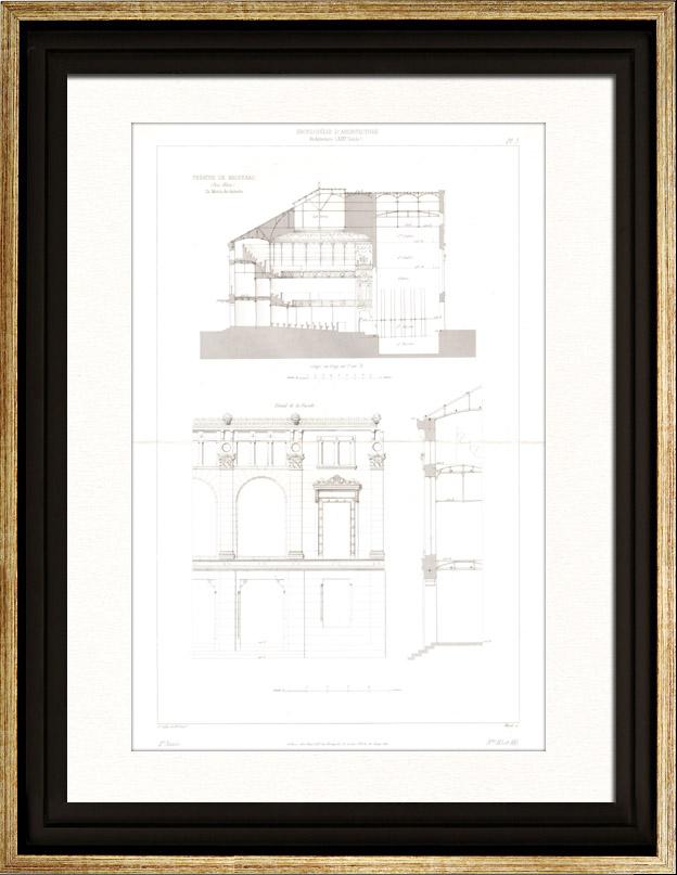 gravures anciennes dessin d 39 architecte th tre d 39 haguenau bas rhin france d tails de. Black Bedroom Furniture Sets. Home Design Ideas