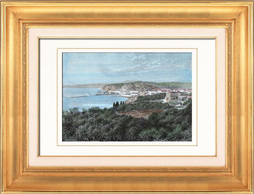Gravures Anciennes & Dessins | Vue du Port de Nice (Provence-Alpes-Côte d'Azur - France)  | Gravure sur bois | 1877