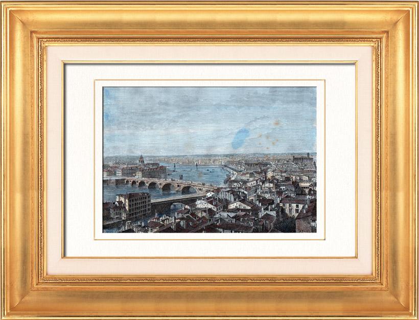 Gravures Anciennes & Dessins   Vue de Toulouse en 1874 - Midi-Pyrénées (Haute-Garonne - France) - Capitole - Donjon - Tour des Archives   Gravure sur bois   1877