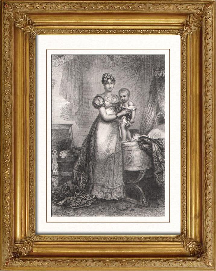 Gravures Anciennes & Dessins   Portrait de l'Impératrice Marie-Louise d'Autriche - Epouse de Napoléon (1791-1847)   Taille-douce   1853