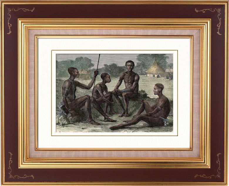 Gravures Anciennes & Dessins | Diour - Groupe ethnique - Soudan (Afrique du Nord) | Gravure sur bois | 1879