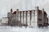 Antique print - Baynard Castle - Yorkshire (England)