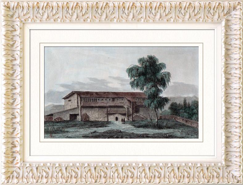 Antique Prints & Drawings | House of Gustav in Dalarna (Sweden) | Intaglio print | 1838