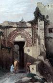Gravure ancienne - Vue de Tanger - La Porte de la Citadelle (Maroc)