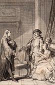 Gravure ancienne - Molière - Jean-Baptiste Poquelin - L'Amour médecin - Comédie