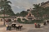 Grabado antiguo - Vista de La Habana - Paseo del Prado (Cuba)