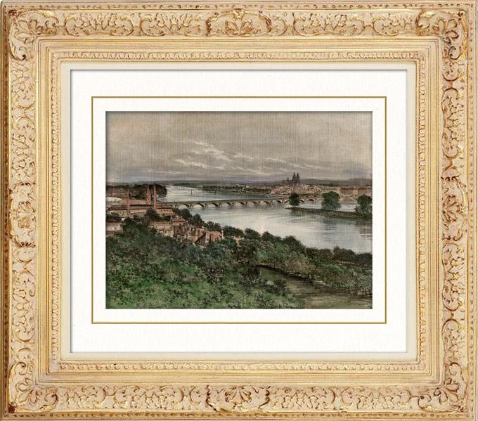 Antique Prints & Drawings | View of Tours - Indre-et-Loire (France) | Engraving | 1885