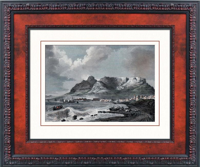 stampe antiche montagna della table e citt del capo sud frica stampa calcografica 1835. Black Bedroom Furniture Sets. Home Design Ideas