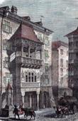Antique print - View of Innsbruck - Tyrol - Alps (Austria) - Golden Roof - Goldenes Dach