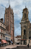 View of Dunkirk - Dunkerque (North - France) - Church Saint Eloi - Belfry
