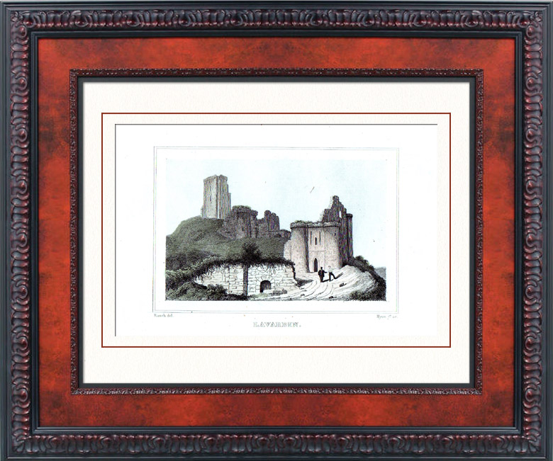 Gravures Anciennes & Dessins   Château de Lavardin (Loir-et-Cher - France) - Monument Historique - Ruines   Taille-douce   1840