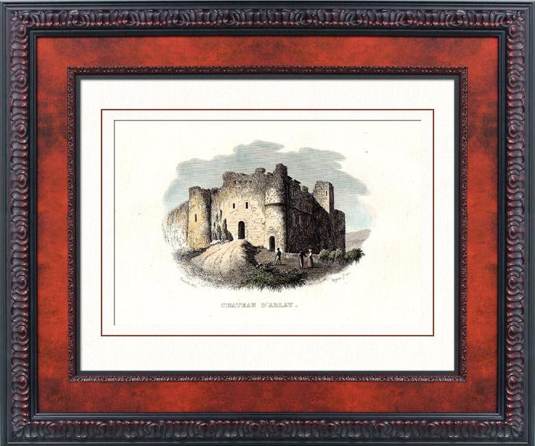 Gravures Anciennes & Dessins   Ruines du Château fort d'Arlay (Jura - France)   Taille-douce   1840