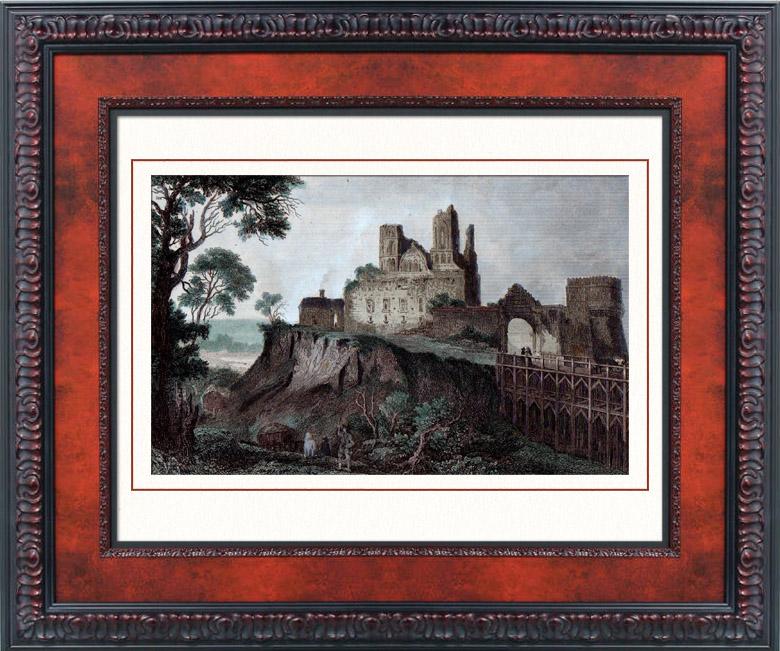 grabados antiguos castillo de ostroh ucrania grabado en talla dulce 1840. Black Bedroom Furniture Sets. Home Design Ideas