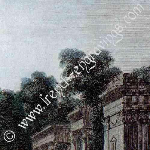 stampe antiche parco lazienki a varsavia anfiteatro polonia stampa calcografica 1840. Black Bedroom Furniture Sets. Home Design Ideas
