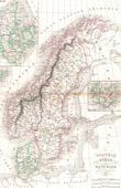 Landkarte von Norwegen - Schweden - D�nemark - Skandinavien